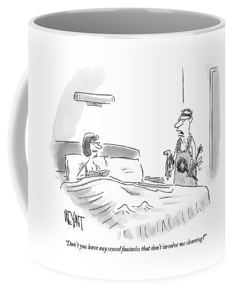 Sex Coffee Mug featuring the drawing A Woman Is Sitting Up In Bed And Her Husband by Christopher Weyant