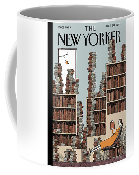 Books Coffee Mug featuring the painting Fall Library by Tom Gauld