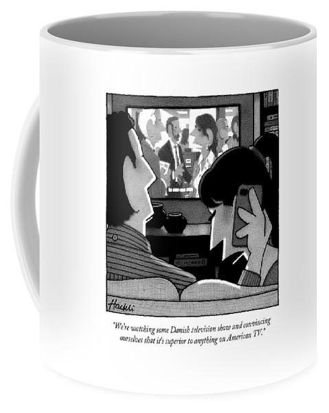 A Woman Speaks On The Phone Coffee Mug