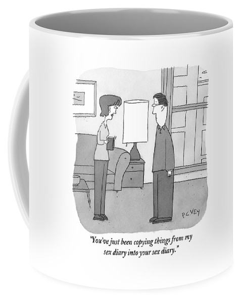 Copy Coffee Mug featuring the drawing A Woman Stands In A Living Room Holding by Peter C. Vey