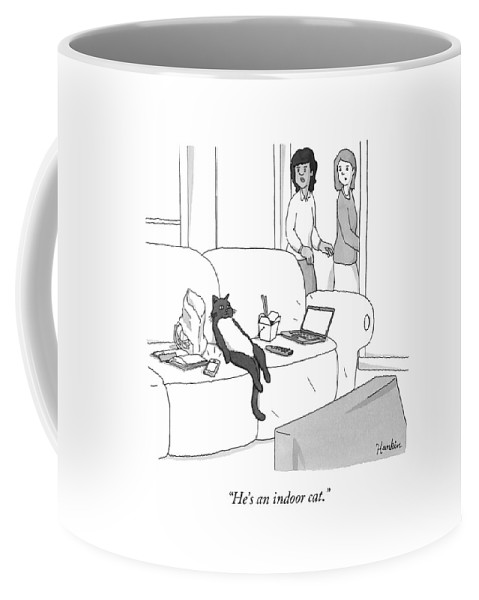 Pet Coffee Mug featuring the drawing He's An Indoor Cat by Charlie Hankin