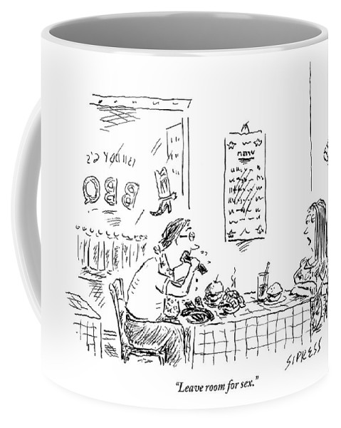 Food Coffee Mug featuring the drawing A Woman With Her Arms Crossed Addresses by David Sipress
