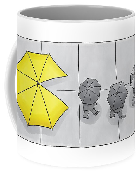 Pac-man Coffee Mug featuring the drawing A Yellow Umbrella With A Pacman Mouth by Christian Lowe
