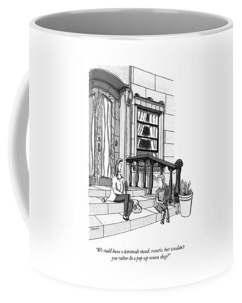 Parenting Coffee Mug featuring the drawing A Young, Rich Mother Tells Her Son, As They Sit by Peter Berkowitz