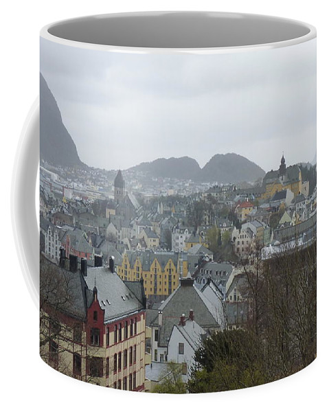 Coffee Mug featuring the photograph Aalesund From Above by Katerina Naumenko