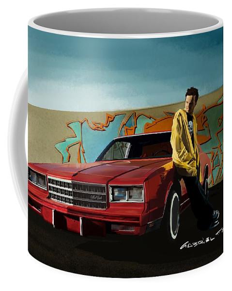 Aaron Paul Coffee Mug featuring the digital art Aaron Paul as Jesse Pinkman @ TV serie Breaking Bad by Gabriel T Toro