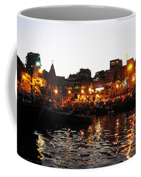Aarti Coffee Mug featuring the photograph Aarti At Dashashwamedh Ghat 2 by C H Apperson