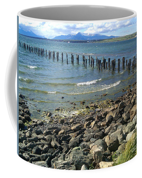 Puerto Natales Coffee Mug featuring the photograph Abandoned Old Pier In Puerto Natales Chile by Ralf Broskvar
