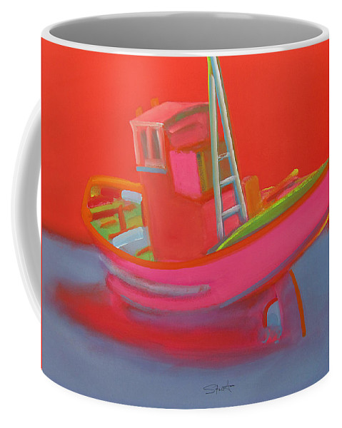 Fishing Coffee Mug featuring the painting Abandoned Red Fishing Trawler by Charles Stuart