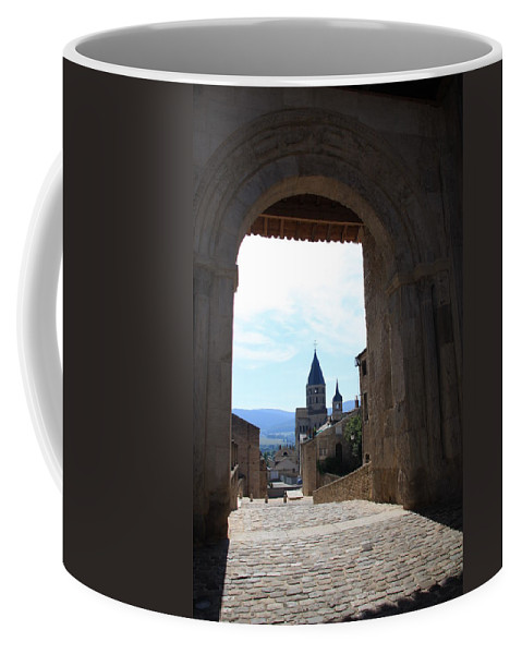 Church Coffee Mug featuring the photograph Abbey Through Doorway - Cluny by Christiane Schulze Art And Photography