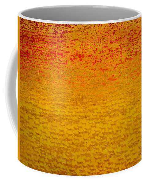 Tiger; Big Cat; Wildcat; Wildcats; Streak; Swift; Ambush; Group; Endangered Species; Two Thousand Five Hundred; Orange; Vibrant;colourful; Abstract; Pattern. Crowded Coffee Mug featuring the painting About 2500 Tigers by Charlie Baird