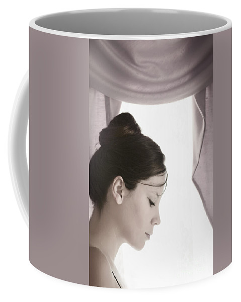 Woman; Female; Lady; Caucasian; Beautiful; Pretty; Brunette; Up Do; Dress; Elegant; Formal; Face; In Thought; Pearls; Indoors; Inside; Drapes; Audrey Hepburn; Pose; Pink; Soft; Softness; Ballerina; Sad; Lonely; Ballet; On Stage; Looking Down; Eyes Closed Coffee Mug featuring the photograph About To Go On Stage by Margie Hurwich