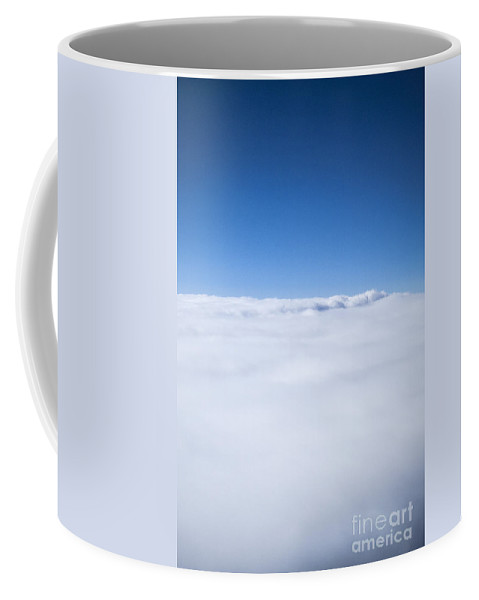 Sky; Clouds; Above; Flight; Cloudy; Space; Blue; White; Atmosphere; Airplane; Above; Flat Coffee Mug featuring the photograph Above And Beyond by Margie Hurwich