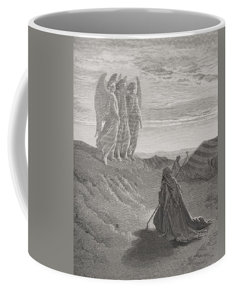 Kneeling Coffee Mug featuring the painting Abraham And The Three Angels by Gustave Dore