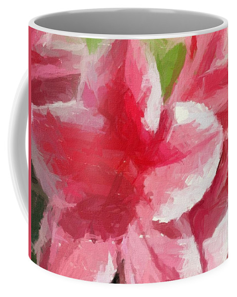 Abstract 106 Pink Painterly Flowers Coffee Mug featuring the painting Abstract 106 Pink Painterly Flowers by Barbara Griffin
