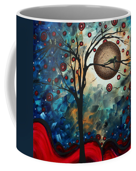 Abstract Coffee Mug featuring the painting Abstract Art Contemporary Cat Bird Circle Of Life Collection Cat Perch By Madart by Megan Duncanson