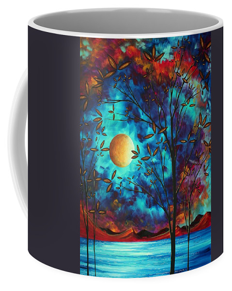 Abstract Coffee Mug featuring the painting Abstract Art Landscape Tree Blossoms Sea Moon Painting VISIONARY DELIGHT by MADART by Megan Duncanson