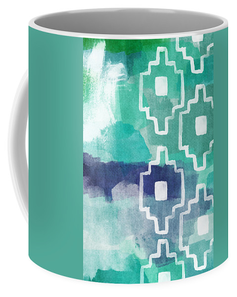 Aztec Coffee Mug featuring the painting Abstract Aztec- contemporary abstract painting by Linda Woods
