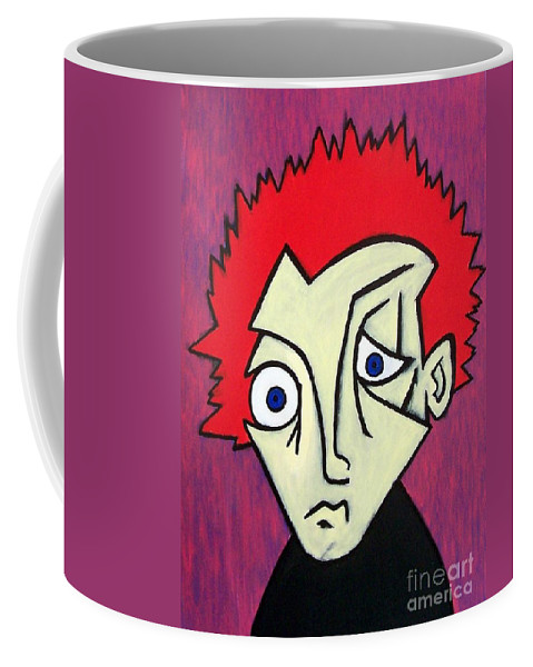 Portrait Coffee Mug featuring the painting Abstract Boy by Thomas Valentine
