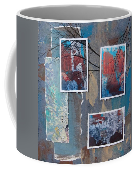 Abstract Coffee Mug featuring the mixed media Abstract Branch Collage Trio by Anita Burgermeister