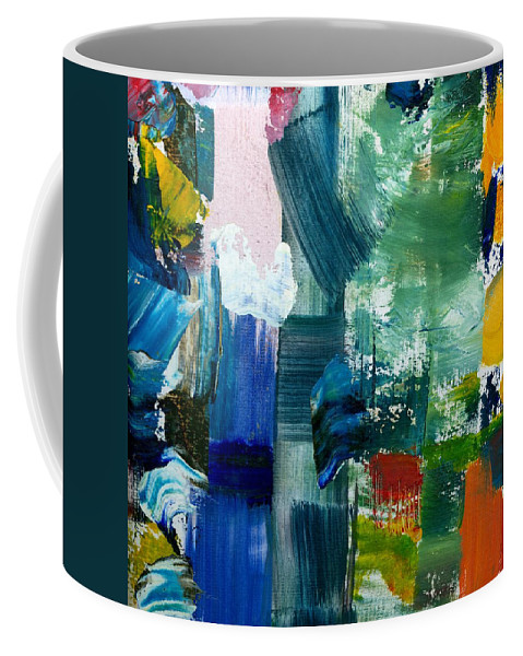 Abstract Collage Coffee Mug featuring the painting Abstract Color Relationships lll by Michelle Calkins