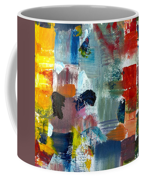 Abstract Collage Coffee Mug featuring the painting Abstract Color Relationships Lv by Michelle Calkins