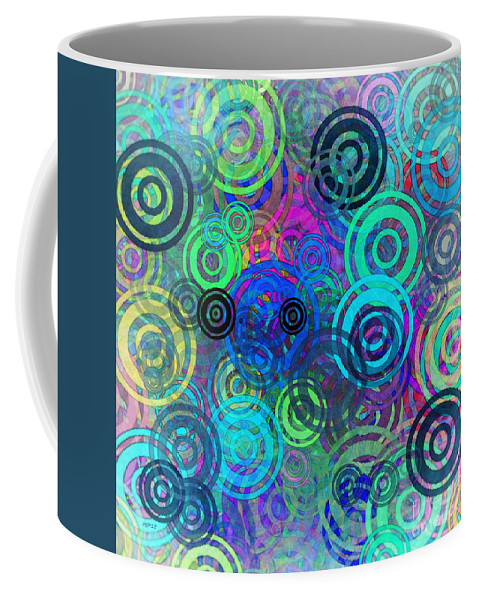 Graphic Design Coffee Mug featuring the digital art Abstract Colorful Rings by Phil Perkins