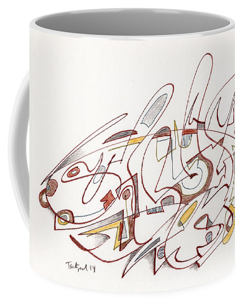 Abstract Coffee Mug featuring the drawing Abstract Drawing Fifteen by Lynne Taetzsch