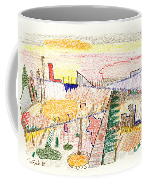 Abstract Coffee Mug featuring the drawing Abstract Drawing Six by Lynne Taetzsch
