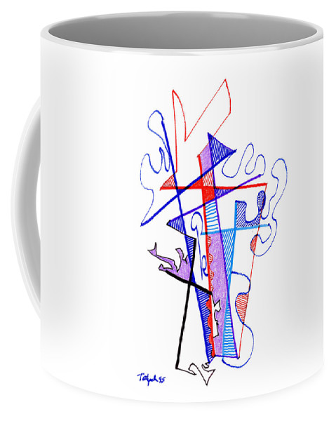 Abstract Coffee Mug featuring the drawing Abstract Drawing Sixty-nine by Lynne Taetzsch