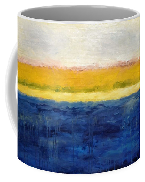 Abstract Landscape Coffee Mug featuring the painting Abstract Dunes with Blue and Gold by Michelle Calkins