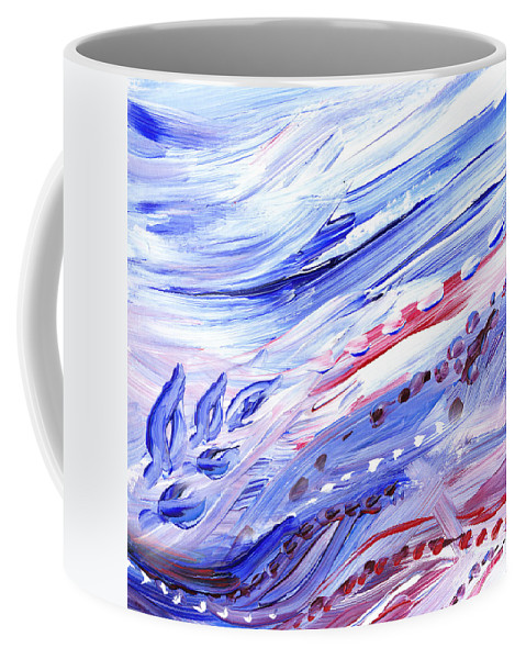 Marble Coffee Mug featuring the painting Abstract Floral Marble Waves by Irina Sztukowski