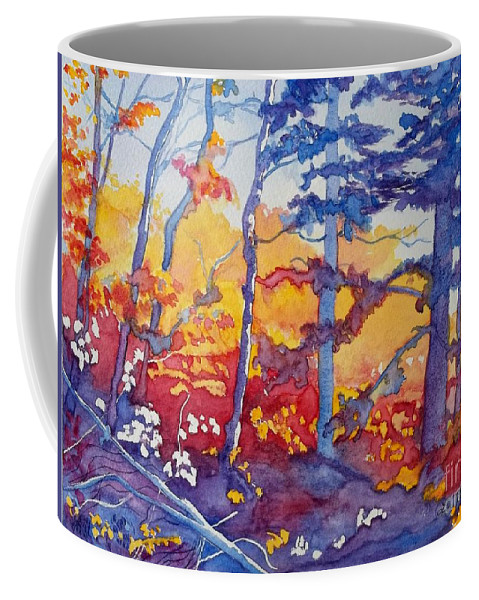 Abstract Forest Coffee Mug featuring the painting Abstract Forest No. 1 by Lise PICHE
