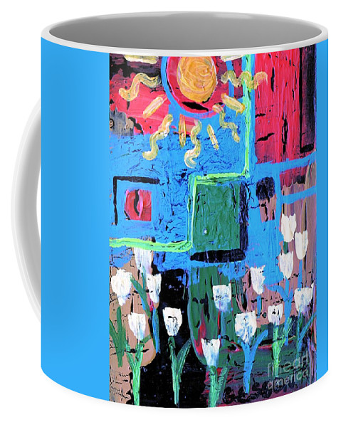 Tulips Coffee Mug featuring the painting Abstract Garden by Genevieve Esson
