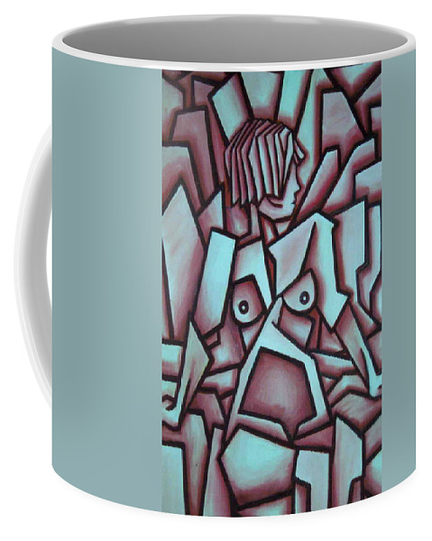 Abstact Coffee Mug featuring the painting Abstract Girl by Thomas Valentine
