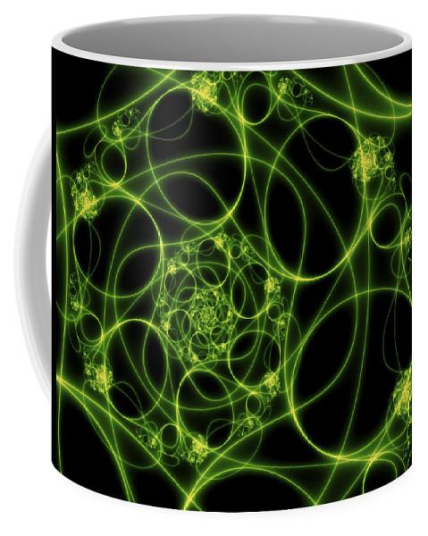 Digital Art Coffee Mug featuring the digital art Abstract Green Light Fractal by Gabiw Art