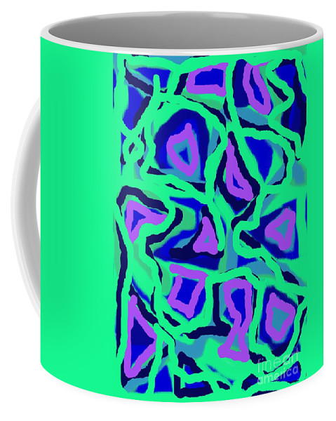 Abstract Coffee Mug featuring the painting Abstract Green Purple Blue by Eric Schiabor