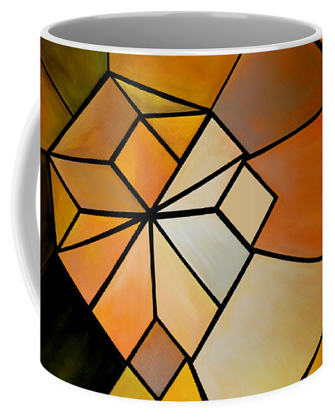 Abstract Coffee Mug featuring the digital art Abstract Impossible Warm Figure by Gina Dsgn