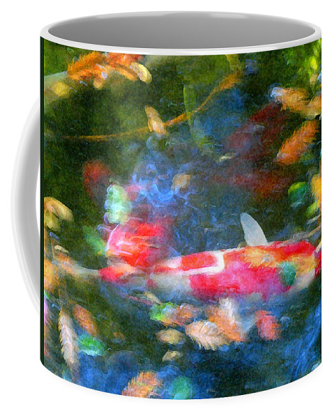 Animal Coffee Mug featuring the painting Abstract Koi 1 by Amy Vangsgard