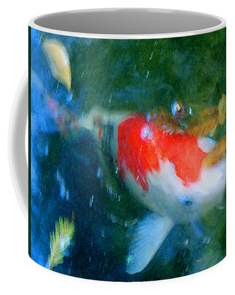 Animal Coffee Mug featuring the painting Abstract Koi 3 by Amy Vangsgard