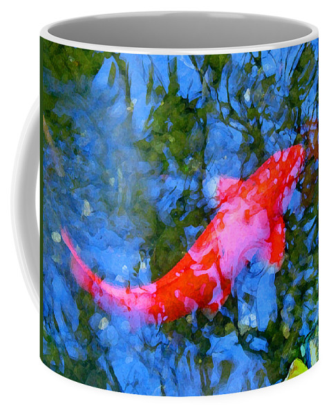 Abstract Coffee Mug featuring the painting Abstract Koi 4 by Amy Vangsgard