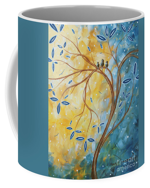 Original Coffee Mug featuring the painting Abstract Landscape Bird Painting Original Art Blue Steel 2 By Megan Duncanson by Megan Duncanson