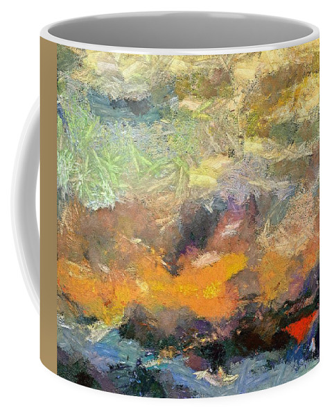 Abstract Art Coffee Mug featuring the painting Abstract Landscape II by Dragica Micki Fortuna
