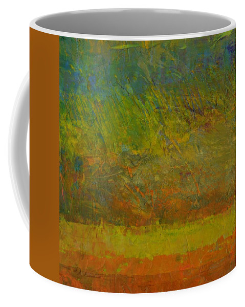 Stripes Coffee Mug featuring the painting Abstract Landscape Series - Golden Dawn by Michelle Calkins