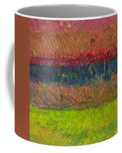 Stripes Coffee Mug featuring the painting Abstract Landscape Series - Lake and Hills by Michelle Calkins
