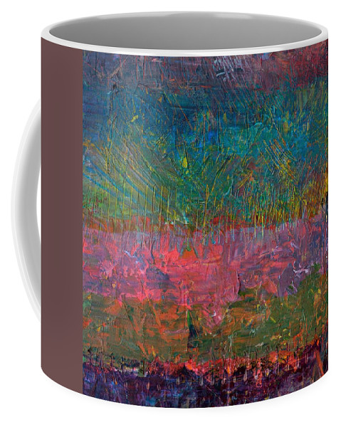 Stripes Coffee Mug featuring the painting Abstract Landscape Series - Wildflowers by Michelle Calkins