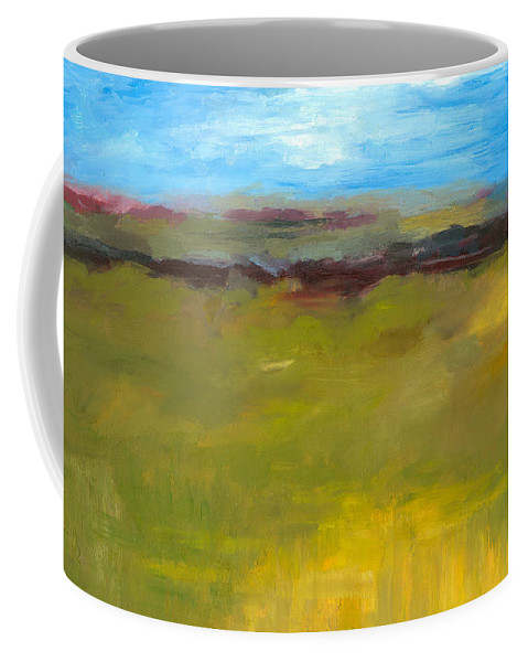 Abstract Expressionism Coffee Mug featuring the painting Abstract Landscape - The Highway Series by Michelle Calkins
