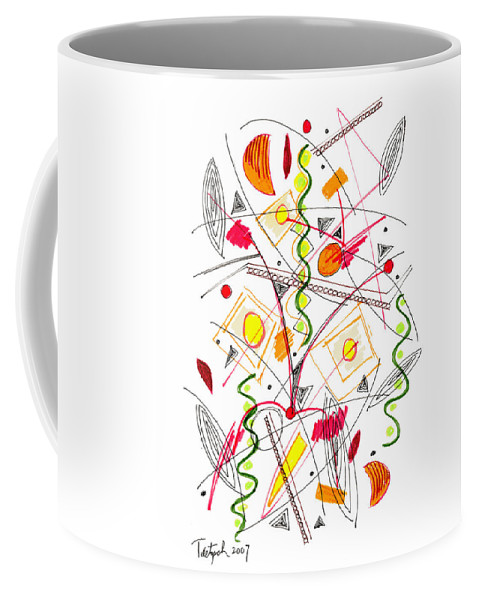 Abstract Coffee Mug featuring the drawing Abstract Pen Drawing Fifty-five by Lynne Taetzsch