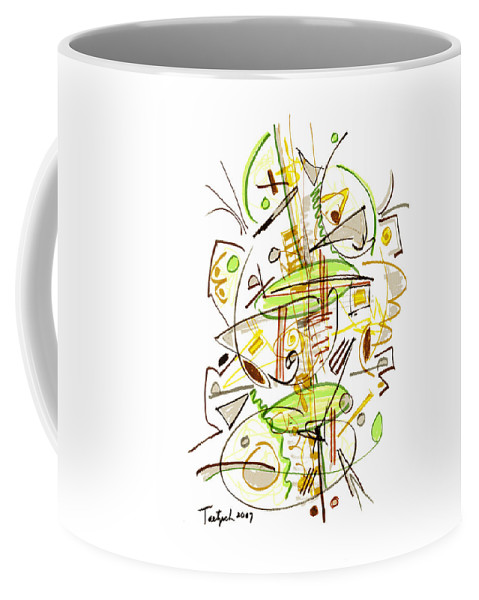 Abstract Coffee Mug featuring the drawing Abstract Pen Drawing Fifty-seven by Lynne Taetzsch