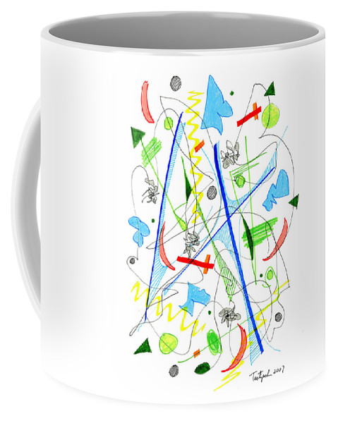Abstract Coffee Mug featuring the drawing Abstract Pen Drawing Fifty-three by Lynne Taetzsch
